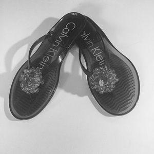 Calvin Klein black transparent Slide Sandals,